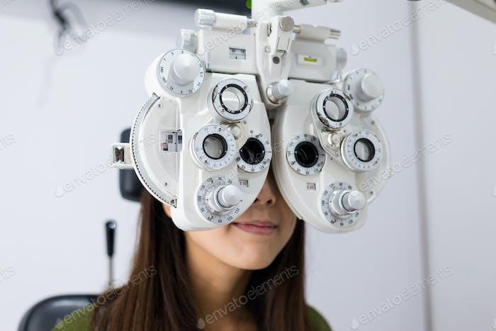 Young Woman doing eyesight test