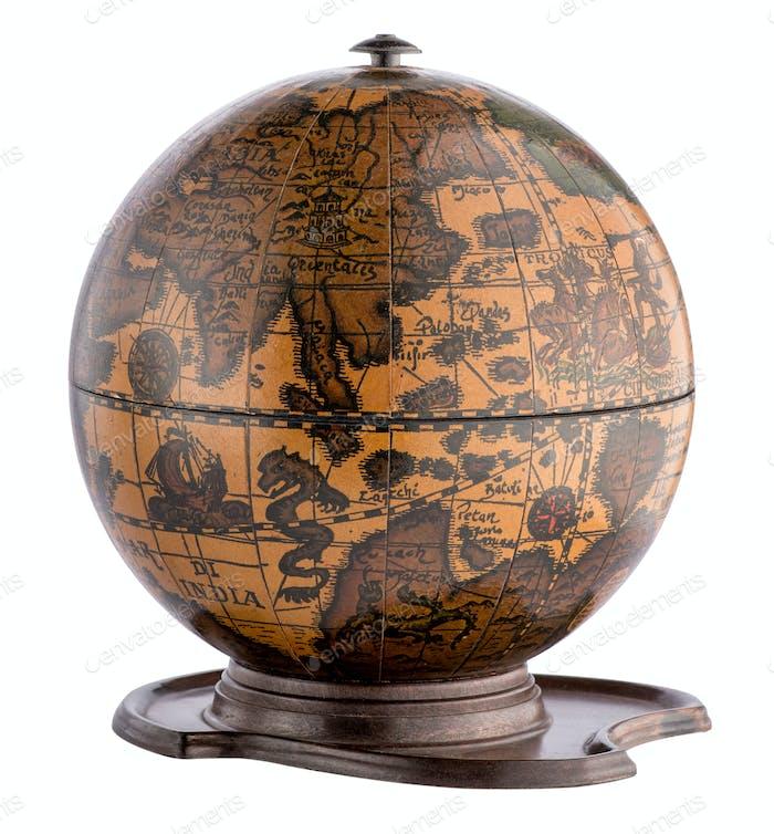 Old wooden terrestrial globe on a plinth