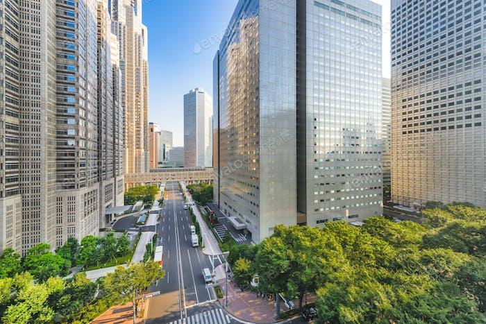 Shinjuku, Tokyo, Japan cityscape past the Metropolitan Governmen