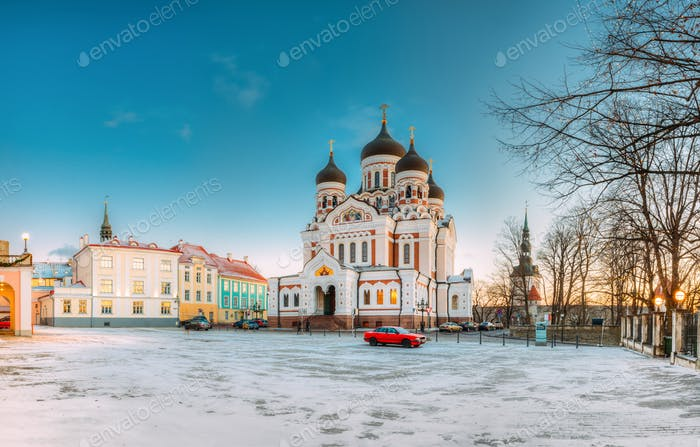Tallinn, Estonia. Morning View Of Alexander Nevsky Cathedral. Fa