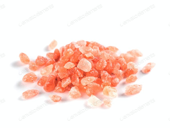 Himalayan pink salt in crystals isolated