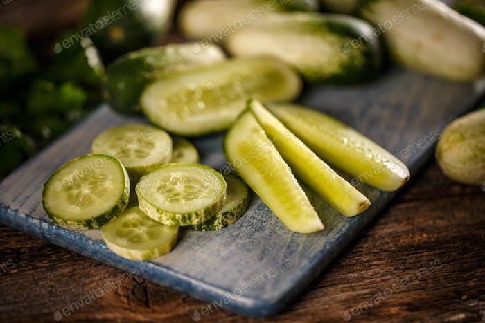 Concept of fresh cucumber