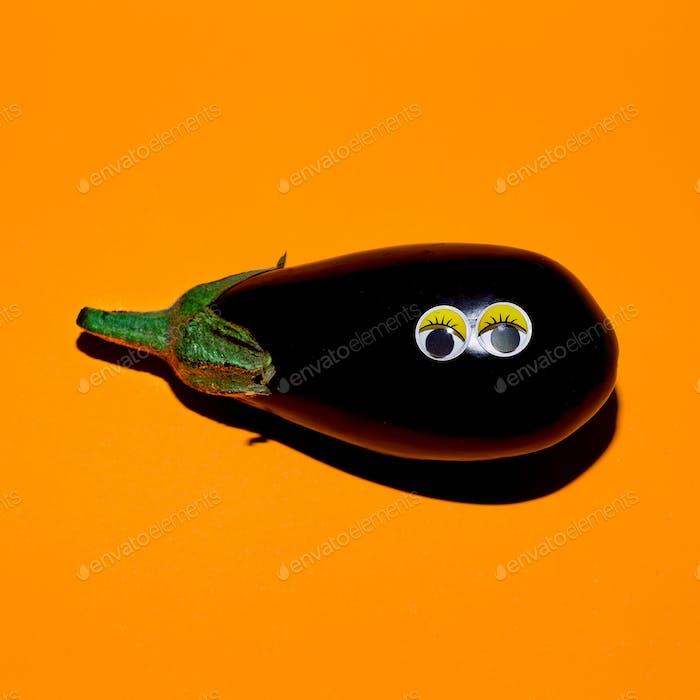 Eggplant with funny eyes. Vegan style