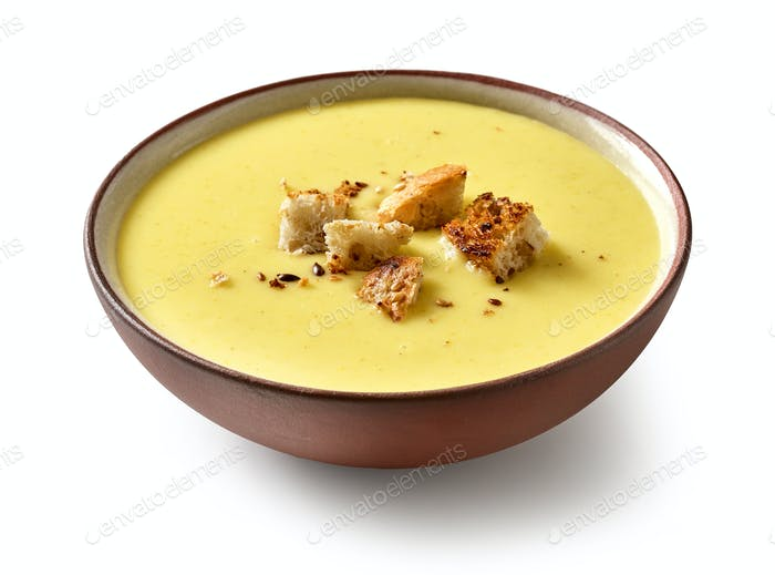 bowl of vegetable cream soup