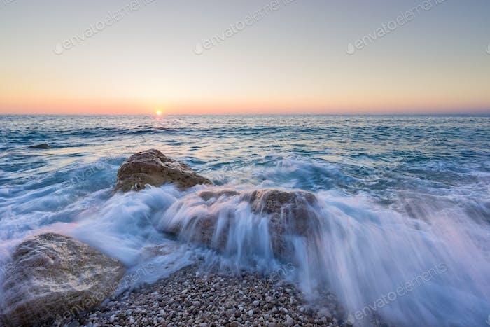 Kathisma beach in Lefkada Greece at sunset