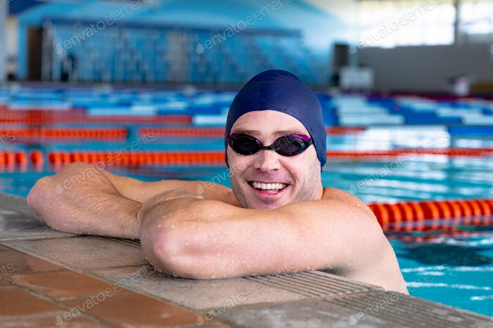 Swimmer looking at camera