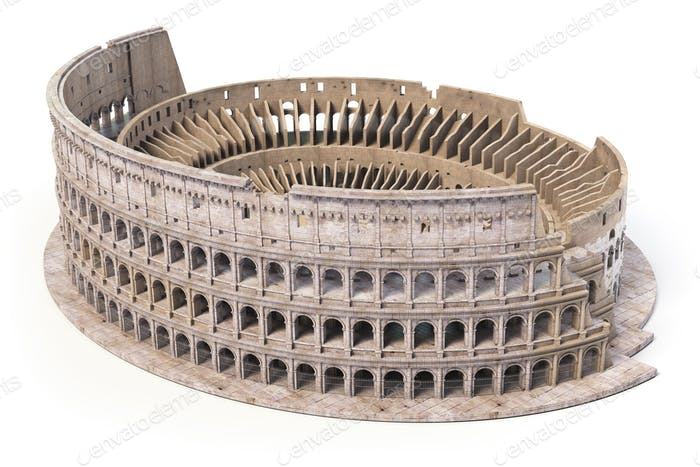 Coliseum, Colosseum isolated on white. Model of architectural an