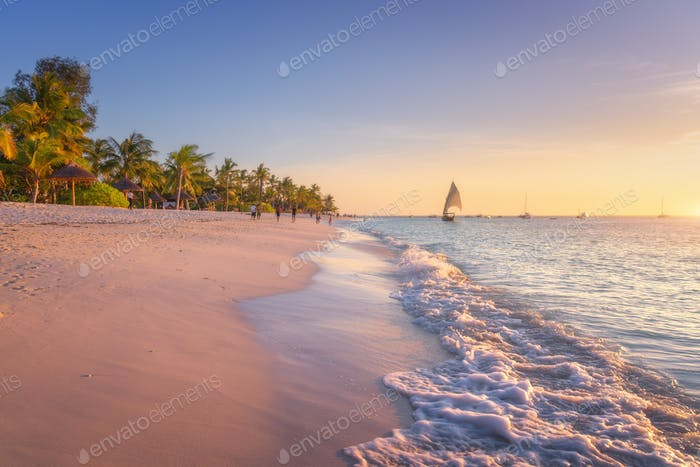 Sandy beach with sea waves, palm trees and walking people