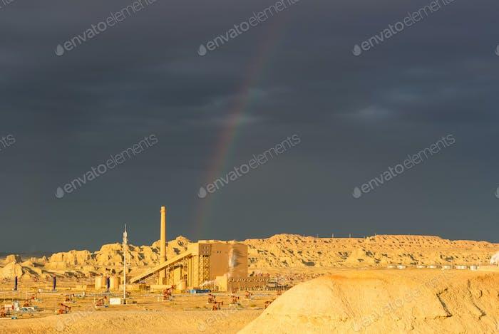 rainbow in xinjiang windy city oil field