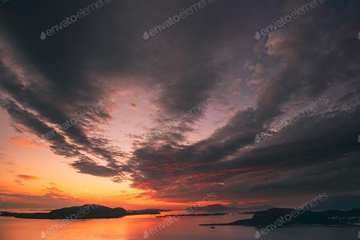 Alesund, Norway. Amazing Natural Dramatic Sky Above Alesund Valderoya And Islands In Sunset Sunrise
