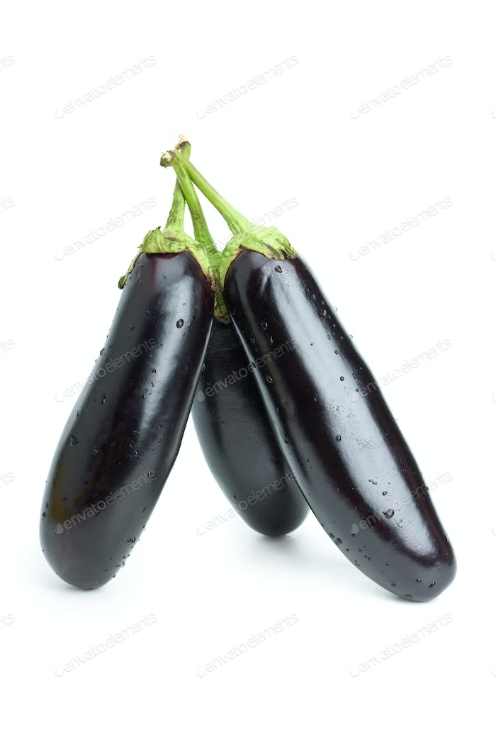 Three aubergines