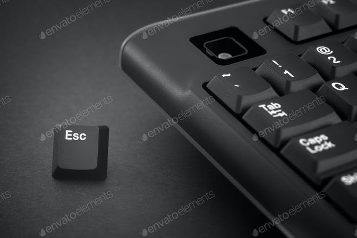 Escape key escapes from a black computer keyboard
