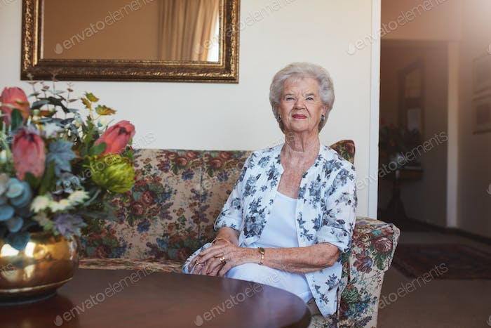 Beautiful senior woman at old age home