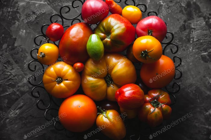 Thumbnail for Tomatoes on a gray background, healthy food, vegetables