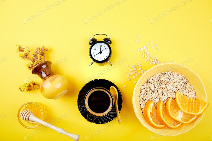 Thumbnail for Morning coffee, granola breakfast, alarm clock