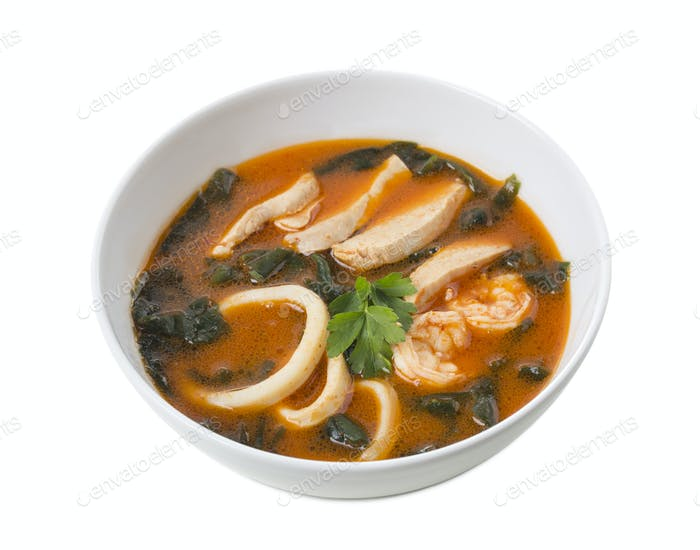 Delicious Thai tom yum soup.