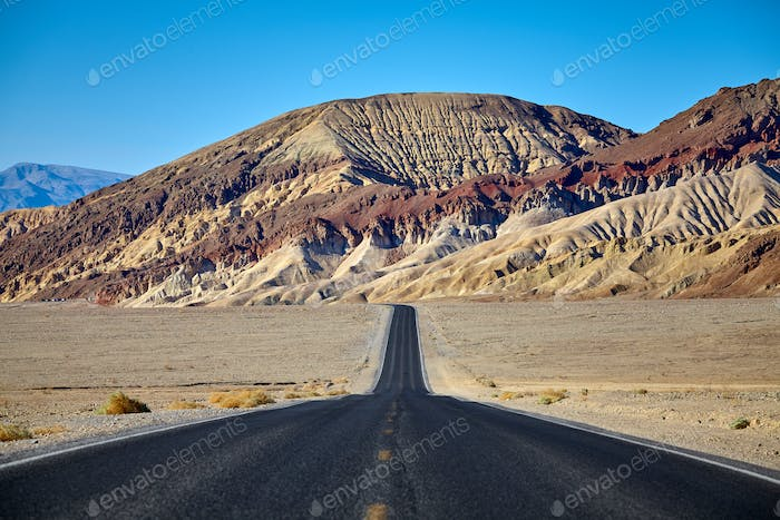 Scenic road in the Death Valley, California, USA.