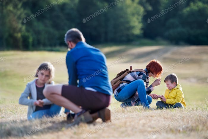 Group of school children with teacher on field trip in nature