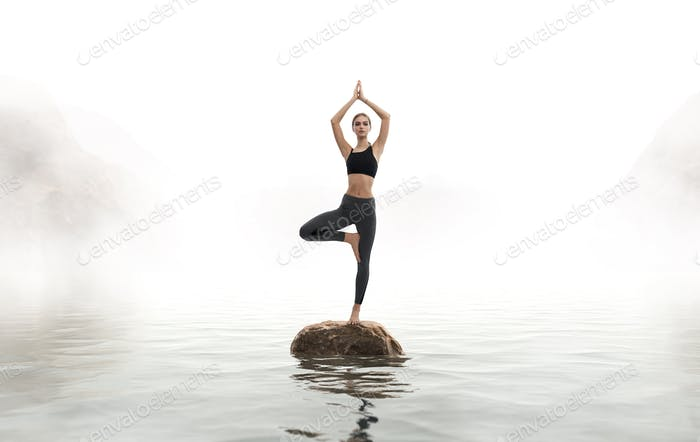 Woman practices yoga