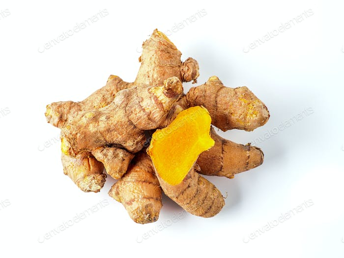 Turmeric root isolated on white, top view