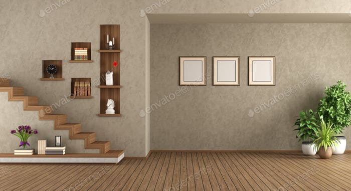 Empty living room with staircase
