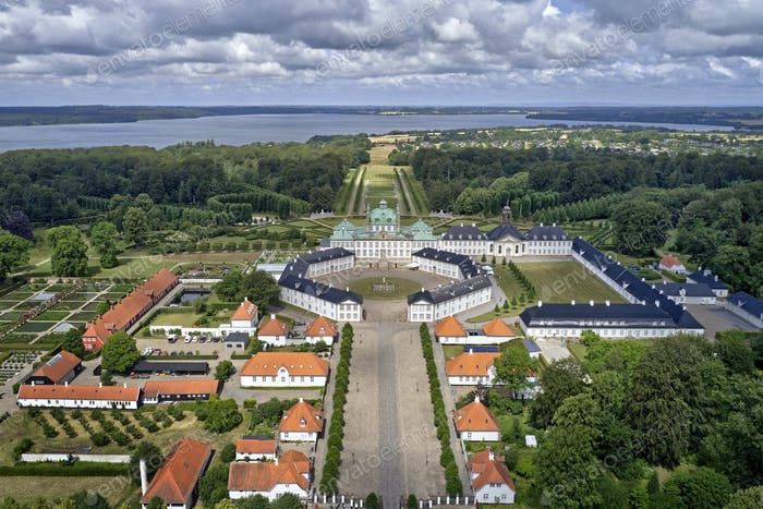 Aerial view of Fredensborg Palace located on Zealand in Denmark, shoot in HDR