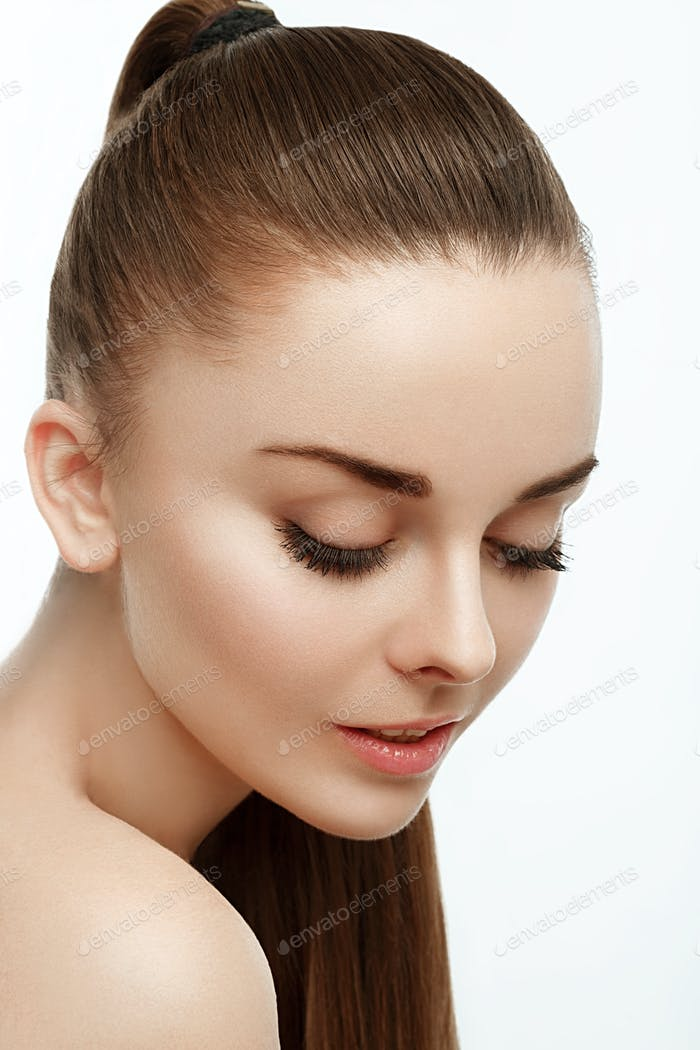 Woman beauty portrait. Skin care, cosmetics and makeup concept. Healthy perfect skin.