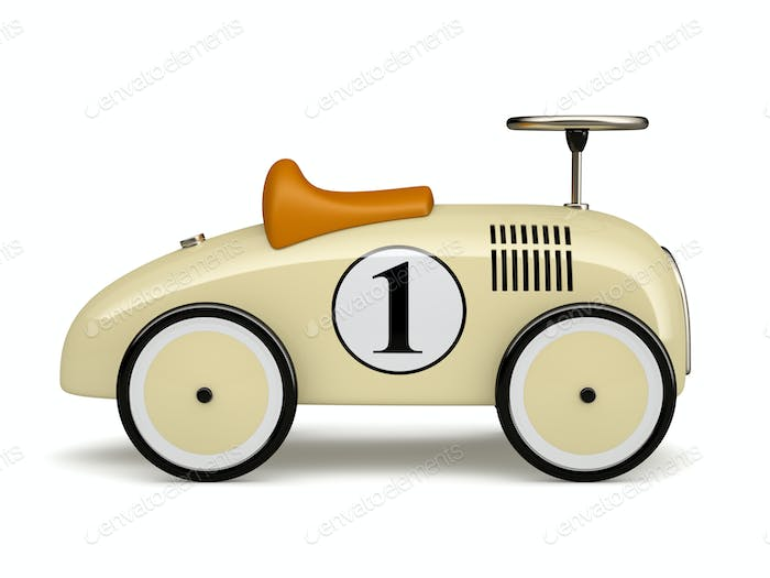 Beige retro toy car number one isolated on white background