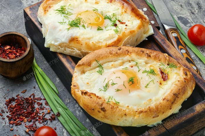 Traditional Georgian adjara khachapuri
