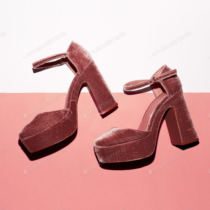 Stylish suede shoes. High heel. Top view