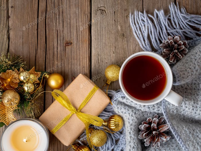 Christmas background with cup of tea.