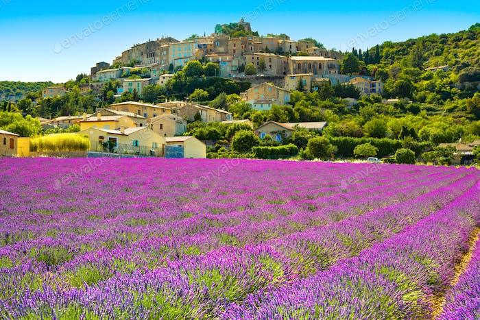 Pueblo de Simiane la Rotonde y lavanda. Provence, Francia