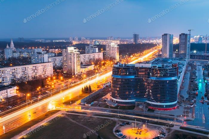 Minsk, Weißrussland. Luftbild Stadtbild In Hellblau Stunde Abend Und