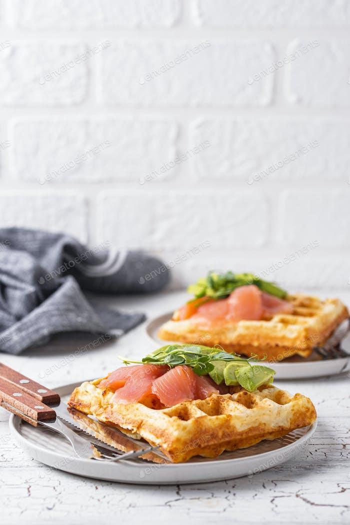 Keto cheese waffle with avocado