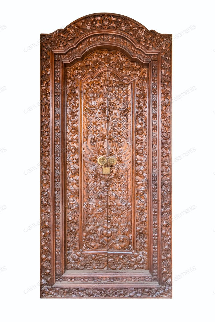 gorgeous old wooden door isolated