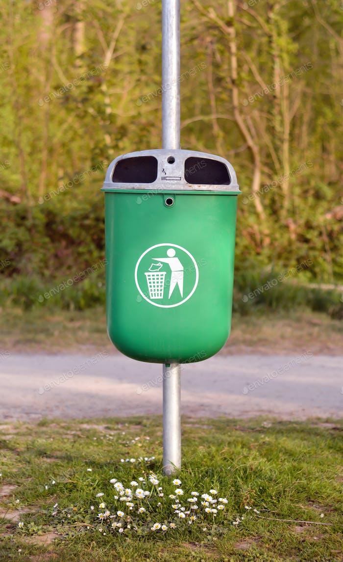 trash bin in park