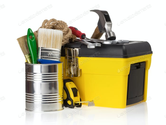 set of tools in toolbox at white