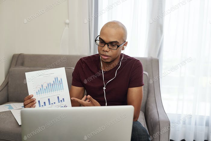 Manager attending online conference