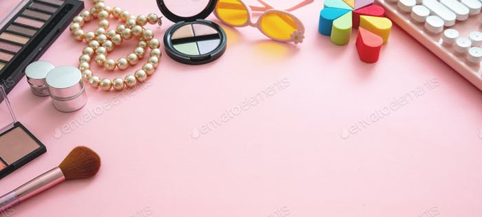 Essentials fashion female accessories on pink background