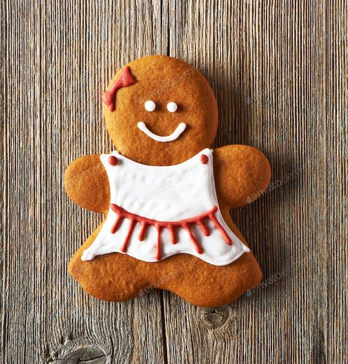 Christmas homemade gingerbread girl cookie