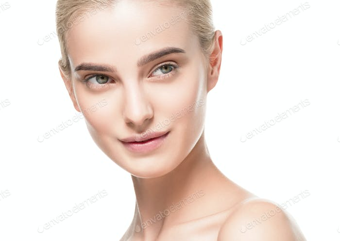 Blonde short hair Youth and Skin Care Concept. Isolated on a white background