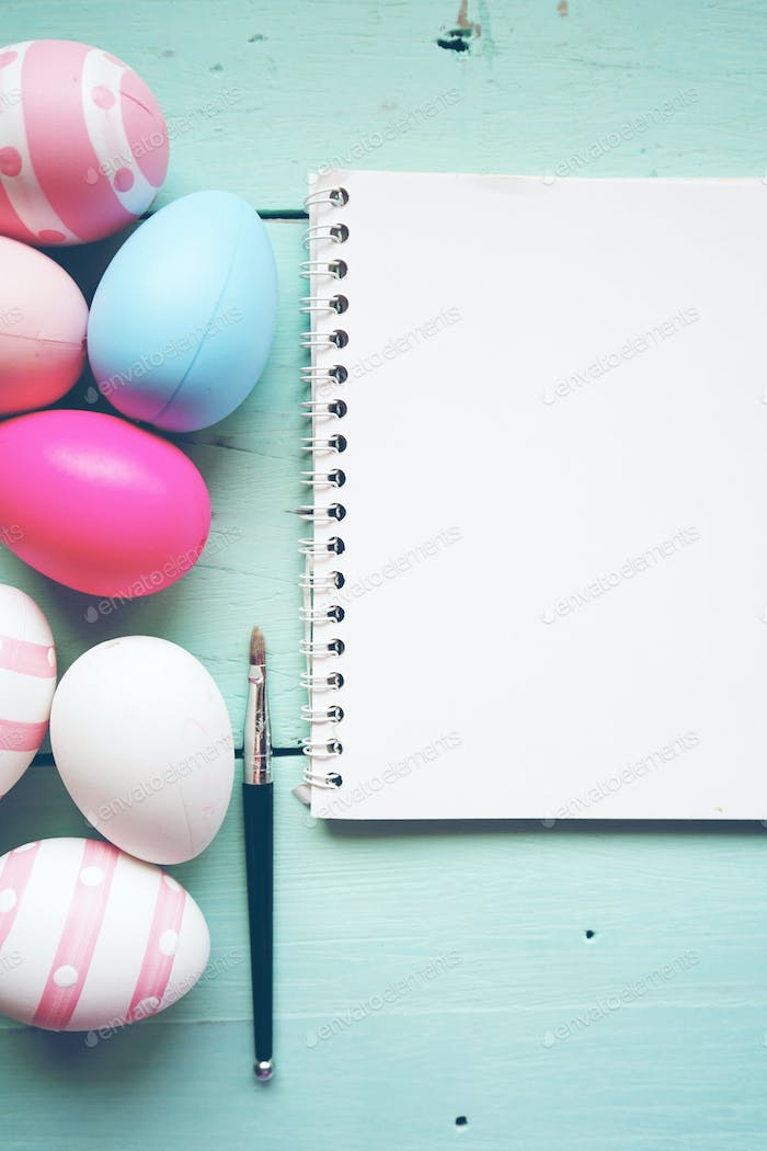 A beautiful and colorful close-up flat of isolated easter eggs i