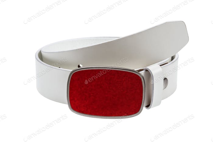 Leather white belt with red buckle