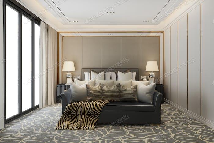 3d rendering classic beautiful luxury bedroom suite in hotel with tv