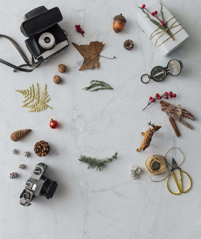 Creative mock up layout made of hipster christmas decoration. Flat lay. Holiday concept.