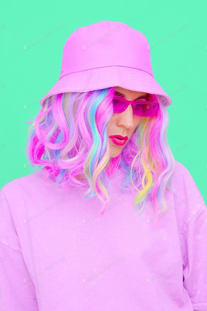 Urban Fresh look. Vanilla Girl. Kawaii vibes. Candy colors design. Bucket hat trends