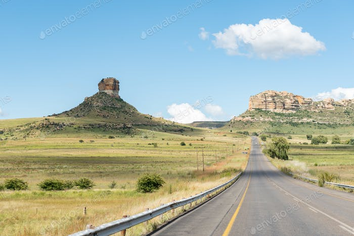 Typical sandstone hill landscape between Fouriesburg and Clarens