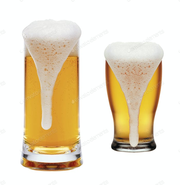 glasses of beer on a white background