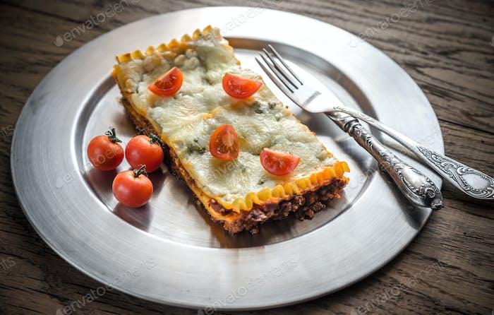 Lasagna on the metal plate