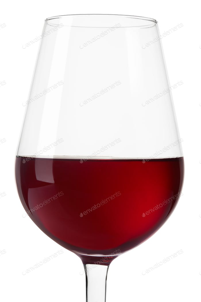 Red wine glass close up isolated on white, clipping path include